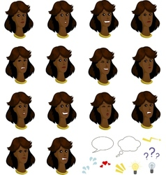 Set of cartoon afroamerican female faces with vector image