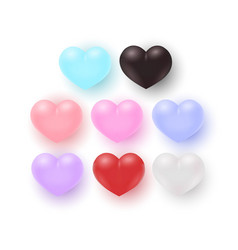 set of heart shapes of vector image