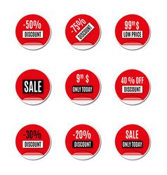 Set of red paper stickers of discount and sale vector