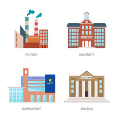 set of urban buildings in a flat style factory vector image