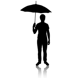 Silhouette of man with umbrella vector image vector image