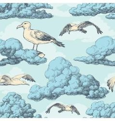 Sky seamless pattern clouds and birds vector image