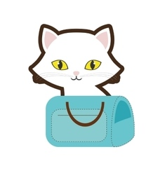 Small cat yellow eyes blue pet carrier bag travel vector