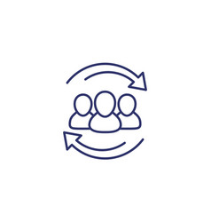 staff rotation icon line on white vector image