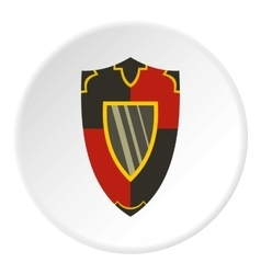 Steel military shield icon flat style vector