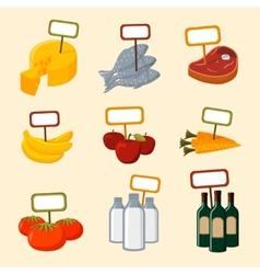 Supermarket foods items with blank signs vector image