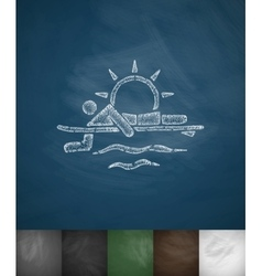 surfer at sunset icon Hand drawn vector image