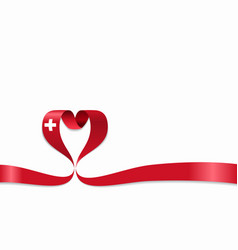 swiss flag heart-shaped ribbon vector image