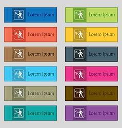 Tennis player icon sign Set of twelve rectangular vector image