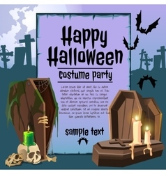The coffin in an graveyard card with sample text vector