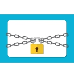 The gray chain and padlock vector