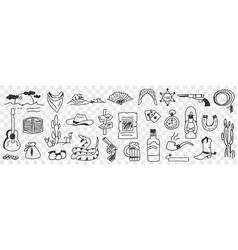 traditional cowboy symbols doodle set vector image