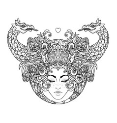 Tribal fusion boho diva beautiful girl with vector