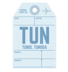 Tunis airport luggage tag vector