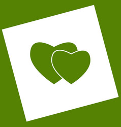 two hearts sign white icon obtained as a vector image vector image