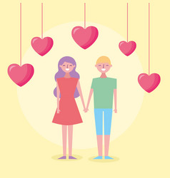 Valentines day celebration with lovers and hearts vector