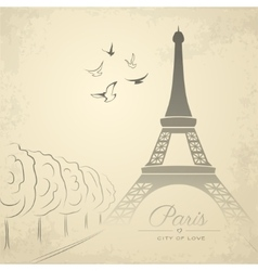 Vintage card with Eiffel Tower vector image