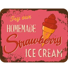 Vintage Ice Cream Tin Sign vector image