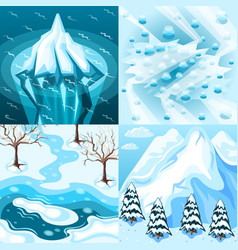 winter landscaping isometric design concept vector image