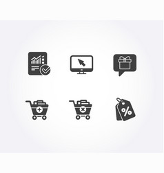 wish list add products and internet icons vector image