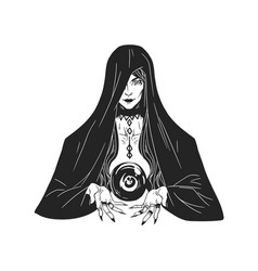 witch divining and foretelling future with crystal vector image