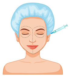 woman botox filler skin injection vector image