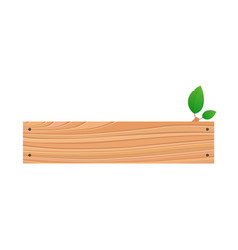 Wood plank isolated board with green foliage vector