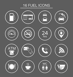 16 gas station icons Fuel silhouette icons vector image