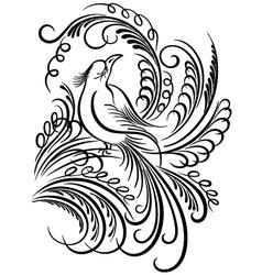 bird calligraphy vector image