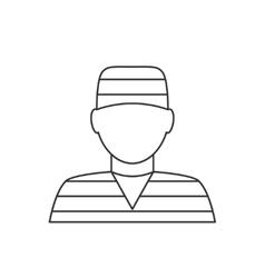 Prisoner avatar thin line icon vector image
