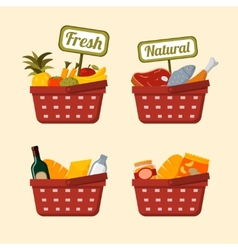 Shopping basket set with foods vector image vector image