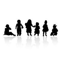 silhouettes - children vector image