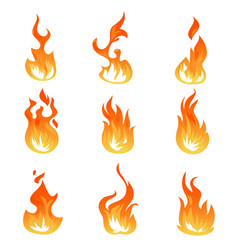 cartoon fire flames set ignition light vector image vector image