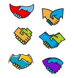 Handshake symbols and icons vector image