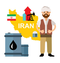 iran oil industry flat style colorful vector image vector image