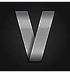 Letter metal chrome ribbon - V vector image vector image