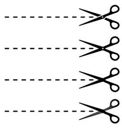 scissors cut lines vector image