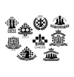 chess icons for game club contest vector image