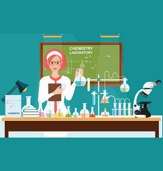 female scientist at chemical laboratory science vector image
