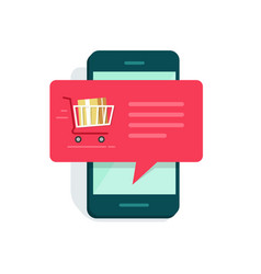 notification on mobile phone new online order vector image vector image