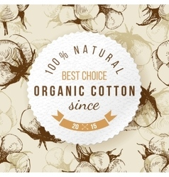 Organic cotton round label with type design vector image vector image