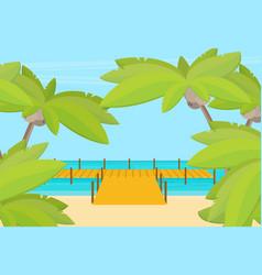 tropical ocean landscape with wooden dock vector image