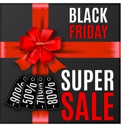 Black friday background with red bow and ribbons vector image vector image