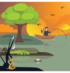 Couple in lake fishing crocodile and snake around vector