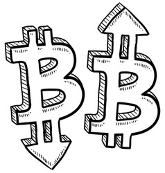 doodle currency up down bitcoin vector image