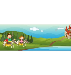 kids castle background vector image vector image