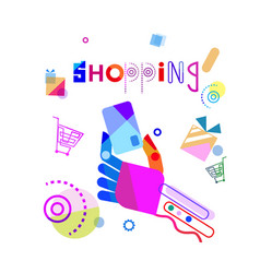 shopping banner abstract hand holding credit card vector image