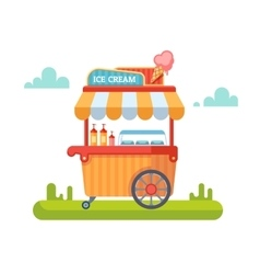 Trolley with ice cream vector image