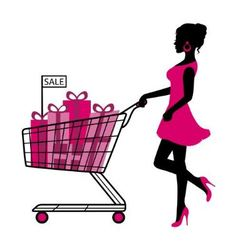 woman wheels a cart with gifts and shopping vector image vector image