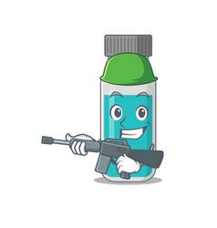 A charming army medical test bottle cartoon vector